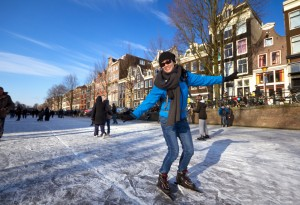 Ice skating in the Amsterdam canals