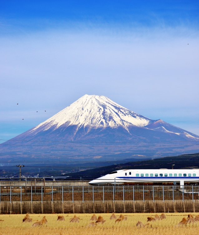 Bullet train below Mt. Fuji in Japan.