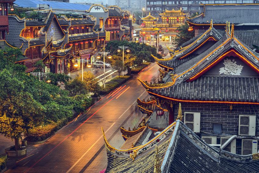 Chengdu, China at traditional Qintai Road district
