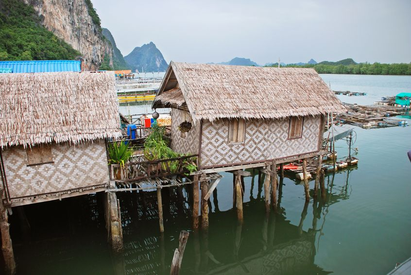 Thai houses on the water