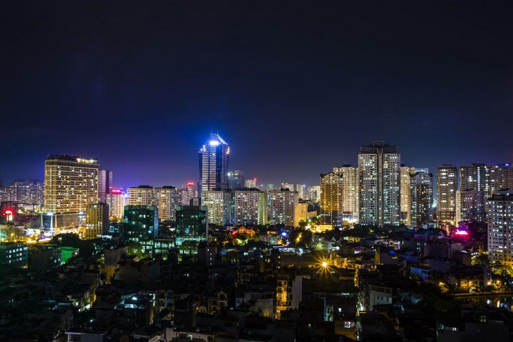 The glowing Hanoi skyline at night