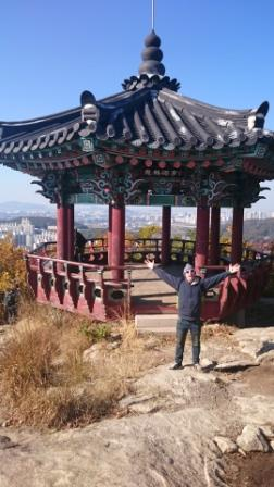 Pagoda atop a mountain in Incheon, Korea