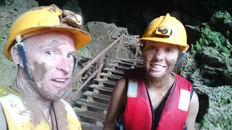 Muddy Explorers in Dark Cave, aka Mud Cave in Phong Nha