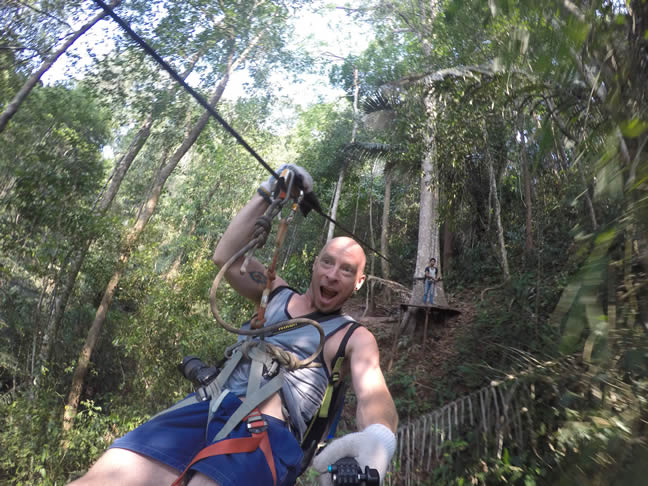 Brent zipping out from the treehouse