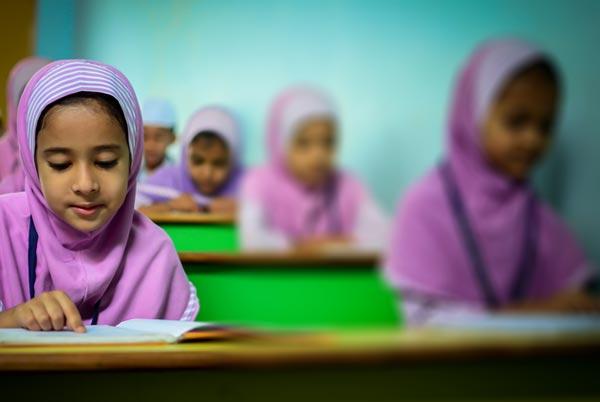 Children in Saudi Arabia in a single-sex classroom