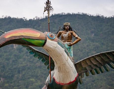 Toucan rider statue